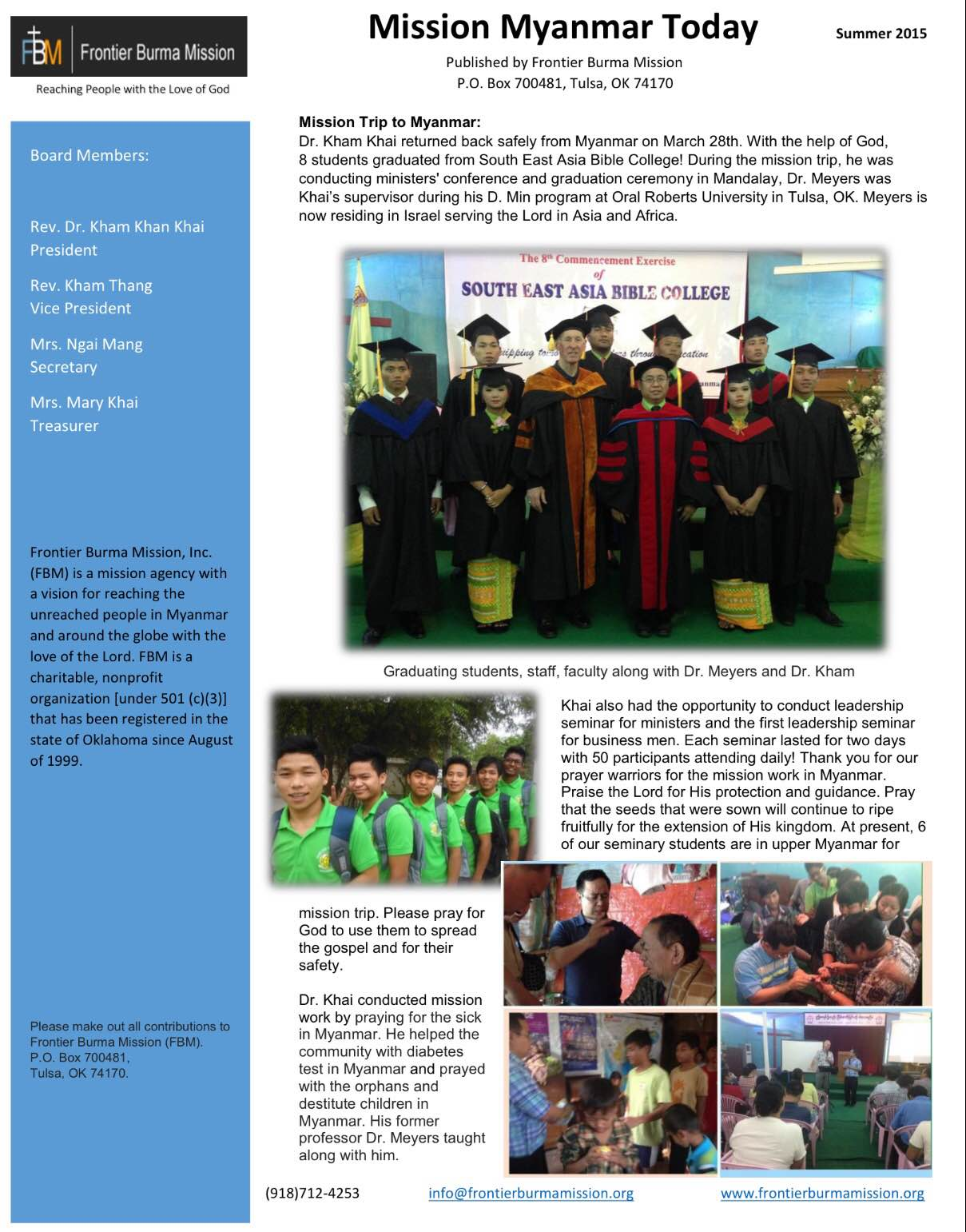 Mission Myanmar Today - Summer 2015