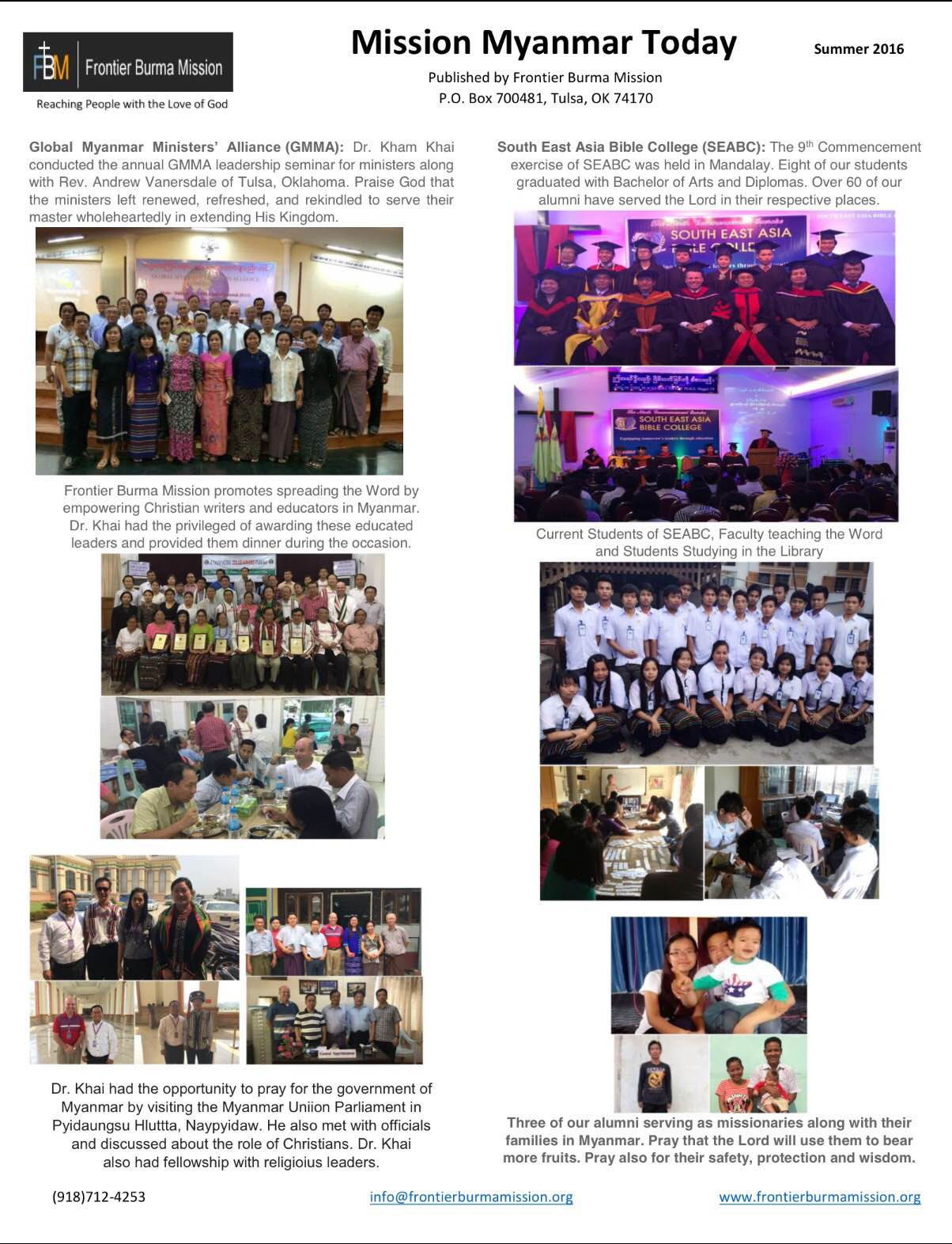 Mission Myanmar Today - Summer 2016